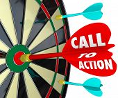 pic of conversation  - Call to Action words on a dart hitting a target on a board to illustrate a marketing or advertising message with goal to encourage a sale - JPG