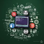 Web technologies collage with icons on blackboard