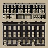 Monochrome English Terrace Houses