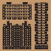Monochrome Buildings Set With European Block Houses