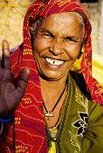 Indigenous senior woman smiling at the camera.