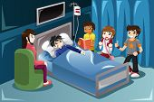 stock photo of visitation  - A vector illustration of kids visiting their friend in hospital - JPG