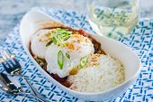 pic of loco  - Loco Moco with venison chili rice and a poached egg - JPG