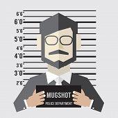 stock photo of police lineup  - Mugshot Of Businessman Vector Illustration - JPG