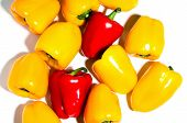 image of yellow-pepper  - colorful bell peppers natural background yellow and red peppers - JPG