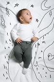 stock photo of boys night out  - Cute infant baby boy walking looking at th stars sketch - JPG
