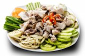 picture of intestines  - asian cuisine with pig intestine with vegetable - JPG