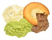 picture of mashed potatoes  - Meat pie and mashed potato meal with mushy peas isolated on a white background - JPG