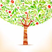 pic of apple tree  - Green abstract apple tree made from swirl floral elements - JPG