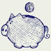 foto of coin bank  - Gold coin fall into a piggy bank - JPG