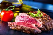 pic of grill  - Grilled Beef steak with vegetable decoration - JPG