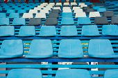 image of bleachers  - Sport stadium plastic chair on bleachers view row - JPG