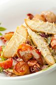 pic of caesar salad  - Seafood Caesar Salad with Shrimps - JPG
