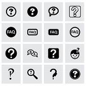 image of faq  - Vector faq icon set on grey background - JPG