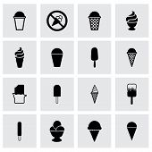 picture of ice cream parlor  - Vector ice cream icon set on grey background - JPG