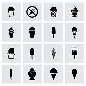 foto of ice cream parlor  - Vector ice cream icon set on grey background - JPG