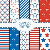 pic of usa flag  - Set of geometric patriotic seamless pattern with red - JPG