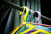 foto of clothes hanger  - Close up of old clothes hangers - JPG