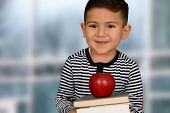 picture of schoolboys  - Happy little schoolboy posing with red apple - JPG