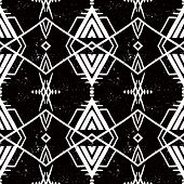 stock photo of indian  - Vector seamless ethnic pattern with american indian motifs in black and white colors - JPG