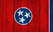stock photo of memphis tennessee  - Tennessee grunge wood background with Tennessean State flag painted on aged wooden wall - JPG