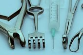 stock photo of surgical instruments  - Closeup shot of various surgical instruments - JPG