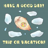foto of stress-ball  - Watercolor cute seal swimming among ice with ball - JPG