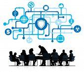 stock photo of antivirus  - Silhouette of business Working and Antivirus Concept - JPG