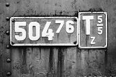 image of railroad-sign  - Old sign with engine parameters of a narrow - JPG