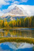 foto of lagos  - Tre Cime from Lago Antorno in Autumn Dolomites Italy - JPG