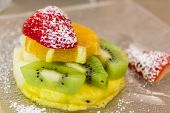 image of fruit platter  - creation of fruit with strawberries pineapple kiwi and orange - JPG
