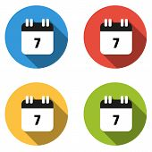 stock photo of number 7  - Set of 4 isolated flat colorful buttons  - JPG