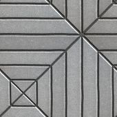 stock photo of paving  - Gray Paving Slabs Rectangles of Varying Lengths Laid in a Square - JPG