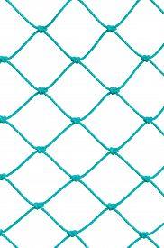 stock photo of roping  - Soccer Football Goal Post Set Net Rope Detail - JPG