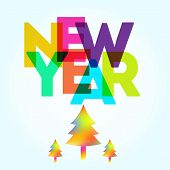 Постер, плакат: New Year Card With The Different Colored Big Letters And Trees