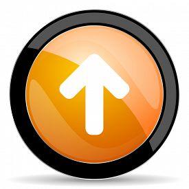 stock photo of arrow  - up arrow orange icon arrow sign  - JPG