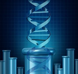 stock photo of beaker  - DNA testing and genetic research concept as a double helix science beaker as a biotechnology and medical science symbol for gene editing as a double helix rising from a lab beaker - JPG