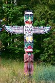 foto of indian totem pole  - Indian painted totem poles in Stanley Park - JPG