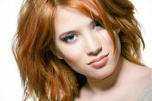 image of hair cutting  - Closeup portrait of a sexy young woman with red hair and natural makeup - JPG