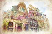 streets of Old Amsterdam made in artistic watercolor style
