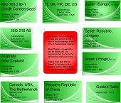 Set of 8 international business card templates with information included in the text: ISO/ countries used in, dimensions (mm/inches) and ratio. Plus a example of