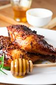 Roast chicken  with honey and french mustard