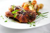 Roast chicken with herbs and vegetables
