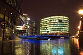 Business center at night, London
