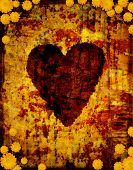 stock photo of broken heart flower  - Grunge heart - JPG