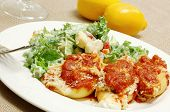 Stuffed shells with salad on the side