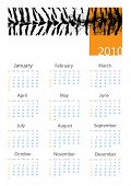 Calendar 2010. Year Of White Tiger. Vector. Computer design.