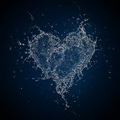 Heart in Water Isolated on Black Background. Computer Graphics.