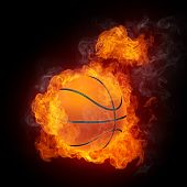 Basketball Ball in Brand. 2D Grafiken. Computerdesign.
