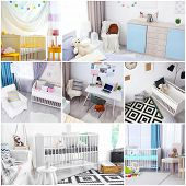 Ideas for childs room interior. Collage of creative designs poster